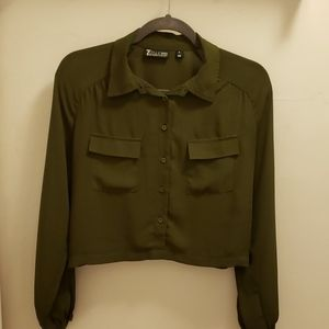 NY & CO Military Green crop top long sleeve size M